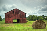 Tin Roof Prints - Red Barn and Hay Bales 1 Print by Douglas Barnett