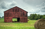 Hay Bale Photos - Red Barn and Hay bales 2 by Douglas Barnett