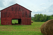 Tin Roof Prints - Red Barn and Hay Bales 3 Print by Douglas Barnett