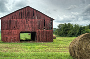 Tin Roof Prints - Red Barn and Hay Bales 4 Print by Douglas Barnett