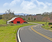 Susan Leggett Prints - Red Barn and Mountains Print by Susan Leggett
