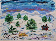 Snow On Barn Posters - Red Barn and Pines in Deep Snow Poster by Mary Carol Williams