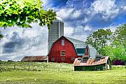 Farm Life Framed Prints Posters - Red Barn and Silo Poster by Pat Carosone