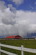 Red Barn And Stormy Sky Print by Mick Anderson