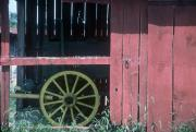 Wheel Pyrography Framed Prints - Red Barn and Wagon Wheel Framed Print by DArcy  Evans