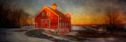 Snow Pyrography Prints - Red Barn At Dusk Print by Michael Petrizzo