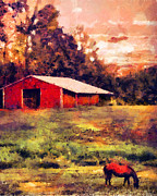 Grazing Horse Posters - Red Barn at Sunset Poster by Jai Johnson
