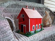 House Sculpture Metal Prints - Red Barn Bird House Metal Print by Gordon Wendling