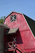 Wooden Building Posters - Red barn Poster by Blink Images