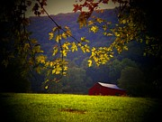Scenic Barn Posters - Red Barn by the River Poster by Joyce  Kimble Smith
