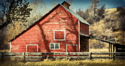 Montana Digital Art - Red Barn by Christine Bakke