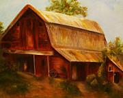 Old Barn Paintings - Red Barn by Claire Bull