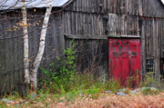Autumn Scenes Metal Prints - Red Barn Door - Dublin New Hampshire Metal Print by Thomas Schoeller