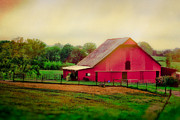 Tennessee Farm Digital Art Prints - Red barn Dreams Print by Elizabeth Wilson