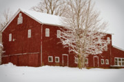Barn Covered In Snow Framed Prints - Red Barn III Framed Print by Tim  Fitzwater