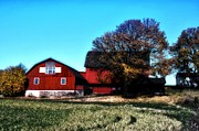 Red Barn Digital Art - Red Barn in Autumn by Bill Cannon