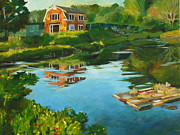New England Village Originals - Red Barn in Kennebunkport ME by Claire Gagnon