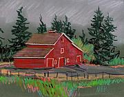 Barn Drawings Prints - Red Barn in la Honda Print by Donald Maier