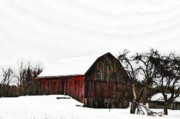 Red Barn Digital Art - Red Barn in Snow by Bill Cannon