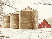 Silos Posters - Red Barn in Snow Poster by Marilyn Hunt