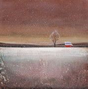 Minimalist Paintings - Red Barn in Snow by Toni Grote