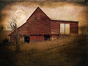 Red Barn Prints Posters - Red Barn In The Evening Poster by Kathy Jennings