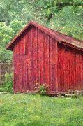 Old Barn Paintings - Red Barn in the Meadow by Anne Kitzman