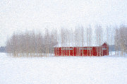 Barn Digital Art Metal Prints - Red Barn in Winter Metal Print by Ari Salmela