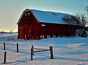 Winter Digital Photo Scene Posters - Red Barn in Winter ... Poster by Juergen Weiss