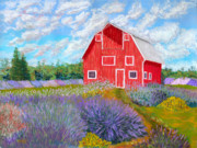 Old Barn Pastels - Red Barn Lavender Farm by James Geddes