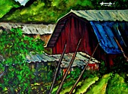 Tin Roof Paintings - Red Barn by Lil Taylor