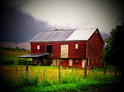 Rural Scenes Prints - Red Barn on a Cloudy Day Print by Joyce L Kimble