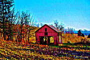 Water Color Digital Art Framed Prints - Red Barn on a Hillside Framed Print by Bill Cannon