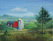 Silos Painting Posters - Red Barn w 2 Silos Poster by Oz Freedgood