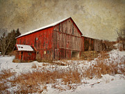 Clouds Photographs Framed Prints - Red Barn White Snow Framed Print by Larry Marshall
