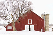 Winter Travel Prints - Red Barn Winter Country Landscape Print by James Bo Insogna