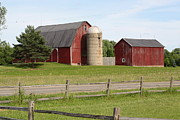Split Rail Fence Framed Prints - Red Barns with Silo Framed Print by Jim Vansant