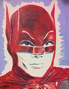 Caped Crusader Prints - Red Batman Print by Ronald Greer