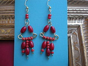 Gold Earrings Jewelry Posters - Red Bead Earrings Poster by Beth Sebring