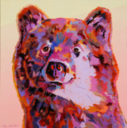 Abstracted Wildlife Art Posters - Red Bear Poster by Bob Coonts