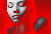 Party Digital Art Prints - Red Beauty  Print by Irina  March