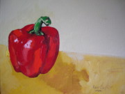 Vegetables Paintings - Red Bell by Robert Cunningham