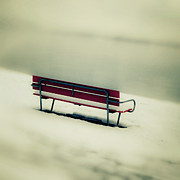 Overcast Art - Red Bench by Joana Kruse