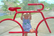 Little Boy Framed Prints - Red Bicycle Framed Print by Jane Schnetlage