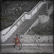 Selective Color Framed Prints - Red Bicycle Framed Print by Kevin Bergen
