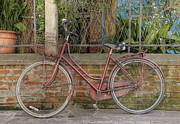 Bicycle Photos - Red Bicycle Leaning on Brick Wall by Andersen Ross