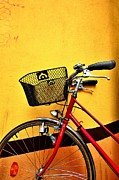 Bicycle Basket Prints - Red Bike And Yellow Wall Print by See me on Flickr account-metal543