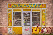 French Doors Posters - Red Bike at the Boulangerie Poster by Debra and Dave Vanderlaan