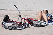 Red Bike On The Beach Print by Rob Hans