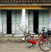 Architectural Detail Framed Prints - Red Bikes Parked in Front of a Weathered Building Framed Print by Skip Nall